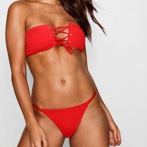 NEW red lace up bikini